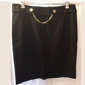 TRINA TURK Black Ponte Knit Pencil Skirt Straight